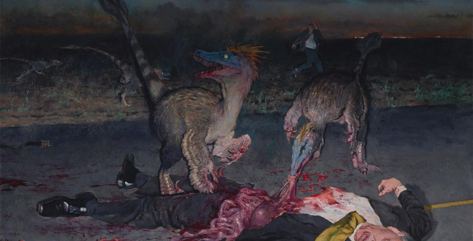 Dinosaurs Eating CEO, 55 x 60, oil on canvas, 2013