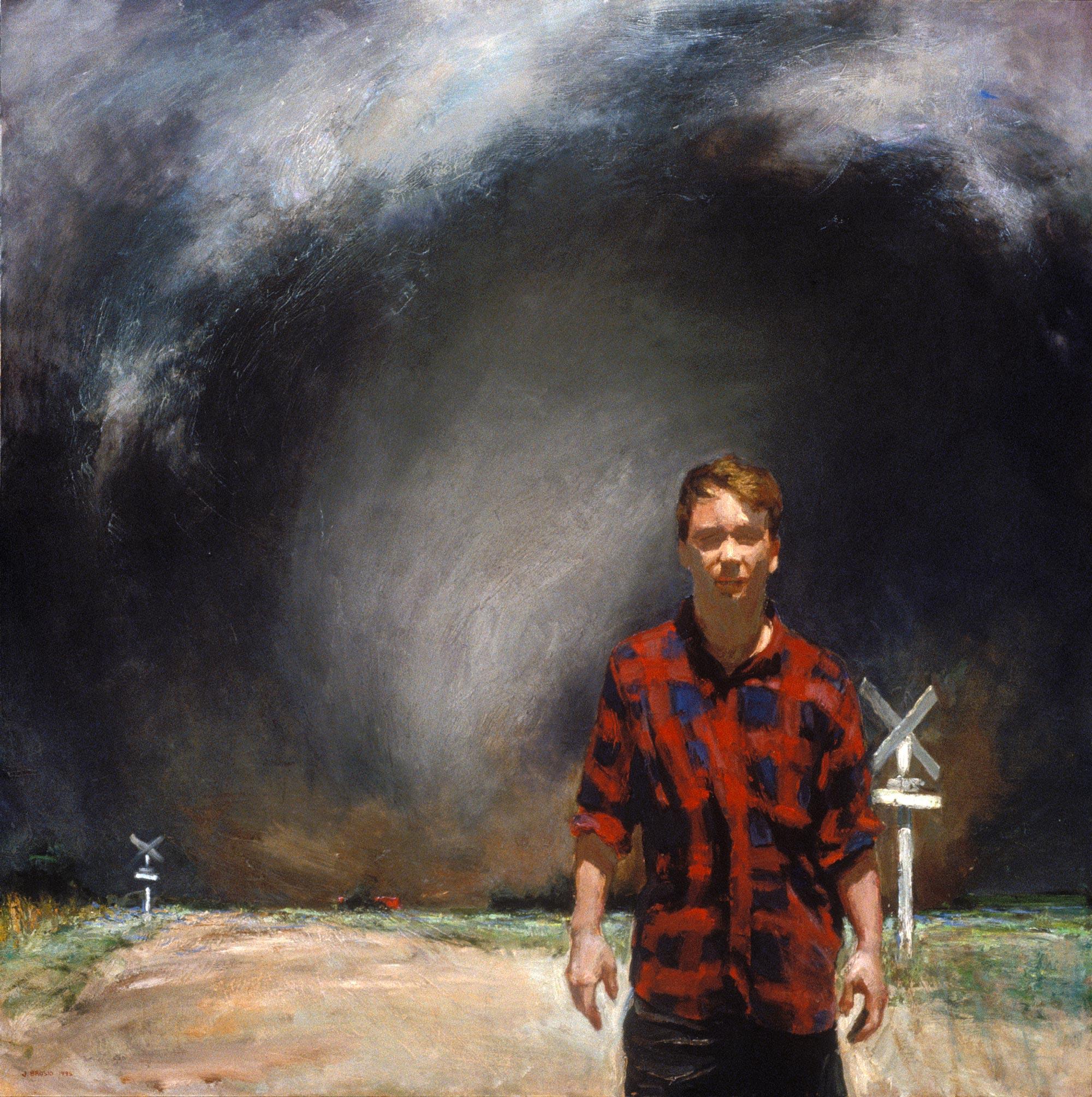 Harbinger (Self-Portrait), 48 x 48, oil on canvas, 1995