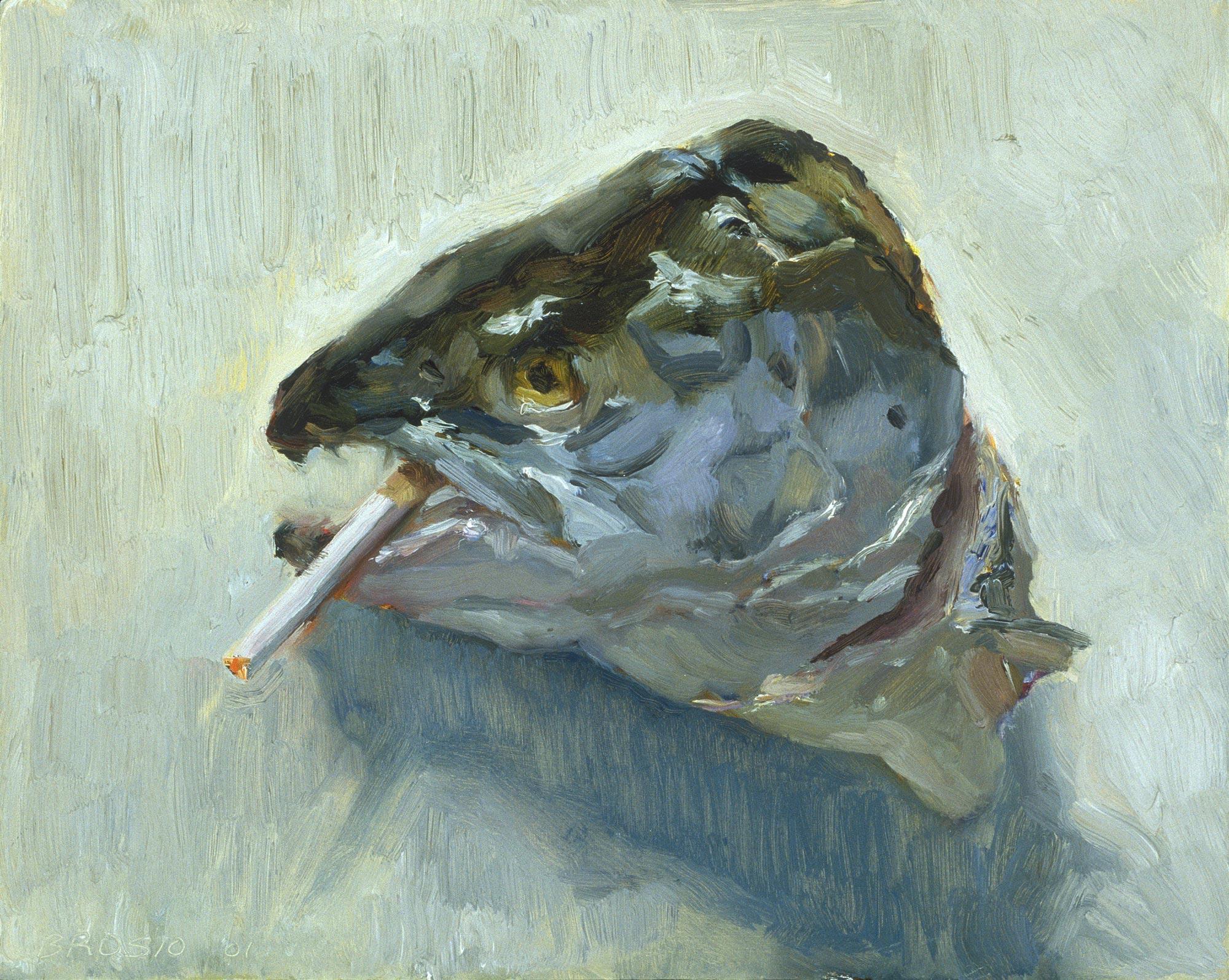 Smoking Salmon 2, 12 x 15, oil on board, 2001