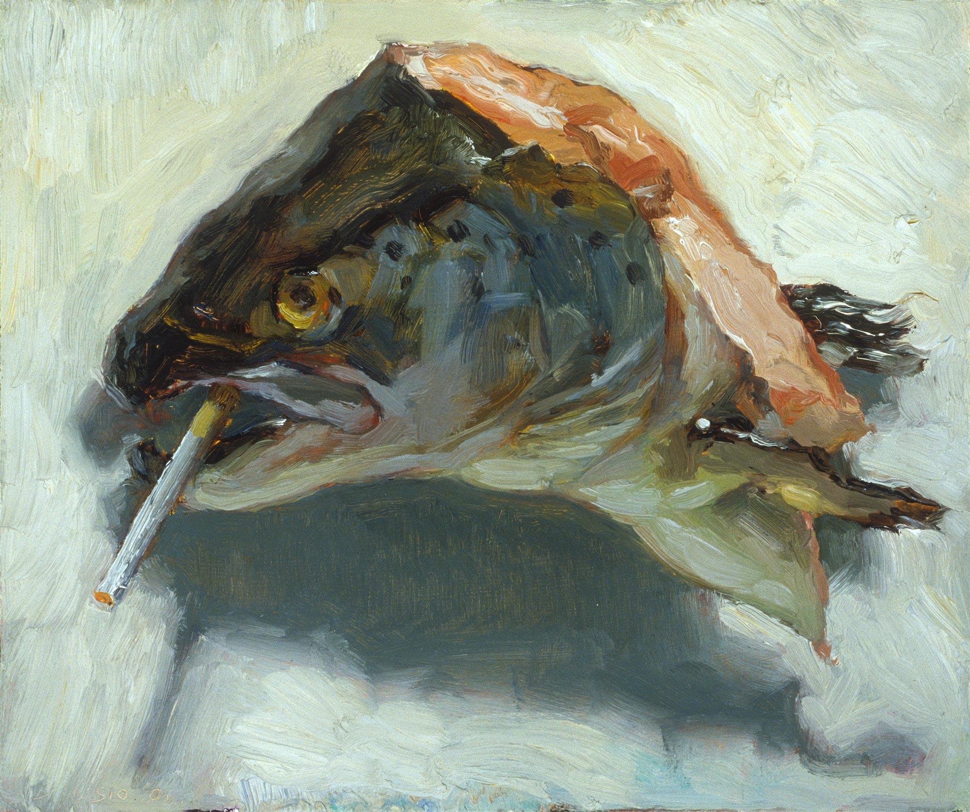 Smoking Salmon, 12 x 14, oil on board, 2001