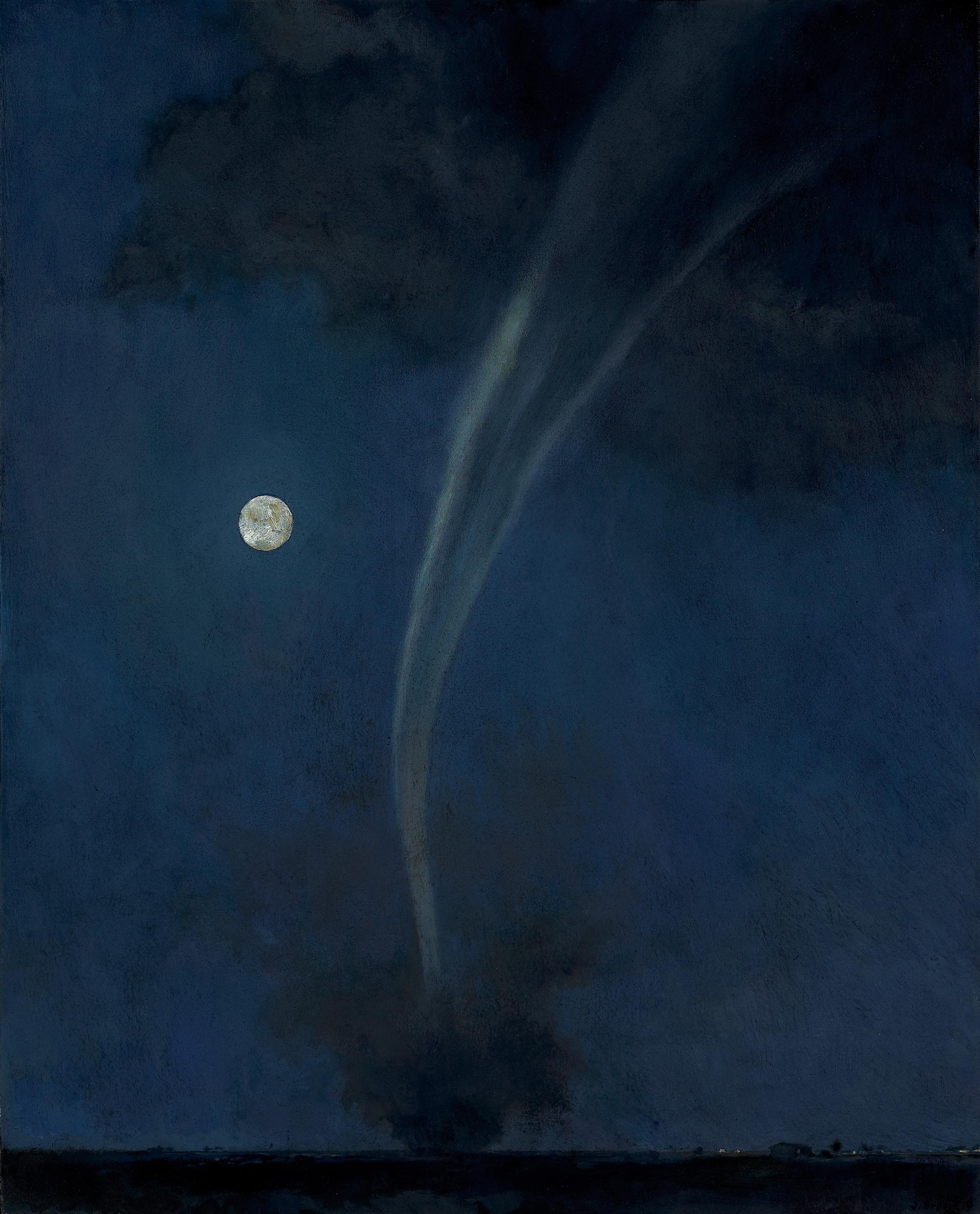 Tornado and Moon, 36 x 29, oil on canvas, 2010